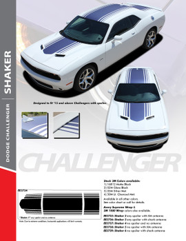 "SHAKER : 2015-2018 Dodge Challenger Factory OEM ""Shaker Style"" Hood Roof Trunk Vinyl Rally Stripes Kit"