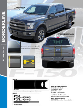 2015-2020 Ford F-150 Center Wide with Accent Racing Stripes Vinyl Graphics Decals Kit