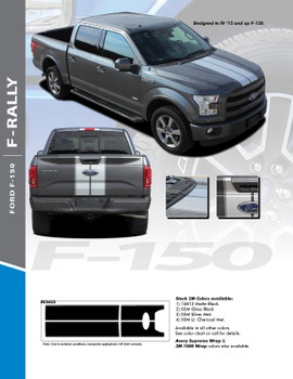 F-RALLY : 2015-2020 Ford F-150 Split Center Racing Stripes Vinyl Graphics and Decals Kit