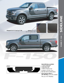 SIDELINE : 2015-2020 Ford F-150 Special Edition Appearance Package Style Door Hockey Stripe Vinyl Graphics Decals Kit