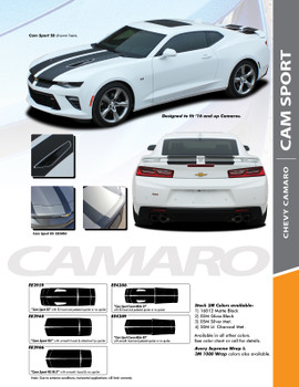 CAM-SPORT : 2016-2018 Chevy Camaro OE Factory Style Vinyl Graphics Racing Stripes Rally Decals Kit for SS RS V6 Models