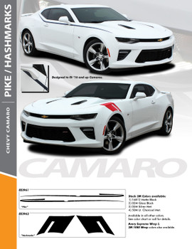 HASHMARK : 2016-2018 Chevy Camaro OEM Factory Lemans Style Hood to Fender Hash Vinyl Stripes Graphics Decals Kit fits SS RS V6