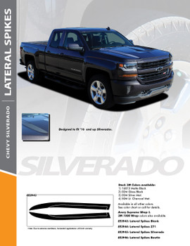 LATERAL SPIKES : 2016-2018 Chevy Silverado Lateral Hood Spears Vinyl Graphic Decal Racing Stripe Kit