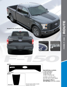 ROUTE HOOD : 2015-2020 Ford F-150 Center Hood Blackout Vinyl Graphic Decal Stripe Kit