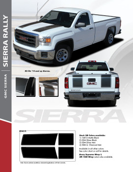 SIERRA RALLY : 2014-2018 GMC Sierra Rally Edition Style Vinyl Graphic Decal Racing Stripe Kit