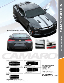 CAM-SPORT PIN : 2016-2018 Chevy Camaro OE Factory Style Vinyl Graphics Racing Stripes with Pin Outline Hood Rally Decals Kit for SS RS V6 Models