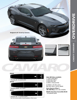 OVERDRIVE : 2016-2018 Chevy Camaro Center Wide Hood Racing Stripes Rally Vinyl Graphics and Decals Kit fits SS RS V6 Models