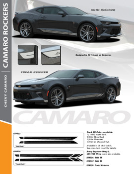SKID ROCKERS : 2016-2018 Chevy Camaro Lower Rocker Panel Door Stripes Vinyl Graphics Decals Kit fits SS RS V6 All Models