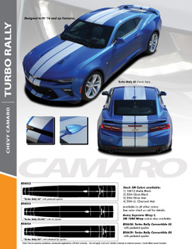 TURBO RALLY : 2016-2018 Chevy Camaro Bumper to Bumper Indy Style Vinyl Graphic Racing Stripes Rally Decals Kit SS RS V6 Models