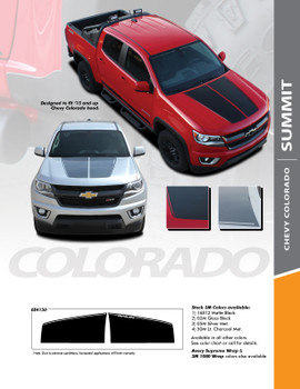SUMMIT : 2015-2020 Chevy Colorado Hood Dual Racing Stripe Factory OEM Style Package Vinyl Graphic Decal Kit