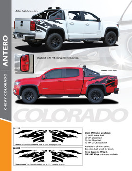 ANTERO : 2015-2019 Chevy Colorado Rear Truck Bed Accent Vinyl Graphic Decal Stripe Kit