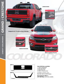 GRAND : 2015-2019 Chevy Colorado Rear Tailgate Blackout Accent Vinyl Graphic Package Decal Stripe Kit