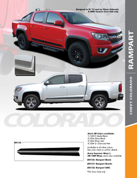 RAMPART : 2015-2019 Chevy Colorado Lower Rocker Panel Accent Vinyl Graphic Factory OEM Style Decal Stripe Kit