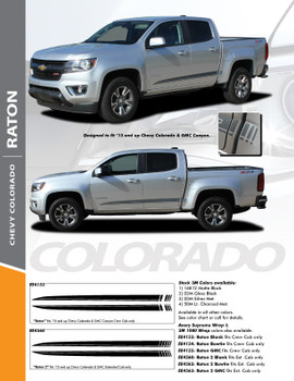 RATON : 2015-2019 Chevy Colorado Lower Rocker Panel Accent Vinyl Graphic Package Factory OEM Style Decal Stripe Kit