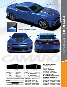 HERITAGE : 2016-2018 Chevy Camaro 50th Anniversary Indy 500 Style Hood Vinyl Graphic Racing Stripes Rally Decals Kit fits SS RS V6 Models