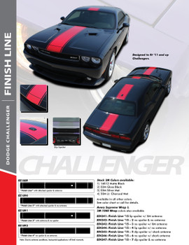 FINISH LINE : 2011-2018 Dodge Challenger Center Wide Rallye Redline Style Vinyl Racing Stripes Hood Decal Graphics Kit