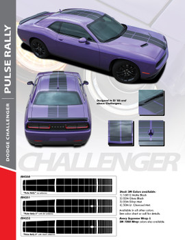 PULSE RALLY : 2008-2018 Challenger Strobe Stripes Hood to Trunk Vinyl Graphic Racing Rally Decal Stripes Kit