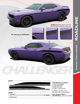 ROADLINE : 2008-2018 Dodge Challenger Wide Upper Door Vinyl Graphics Side Stripes Accent Decals