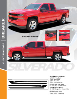 BREAKER : 2014-2018 Chevy Silverado Upper Body Line Accent Rally Side Vinyl Graphic Decal Stripe Kit