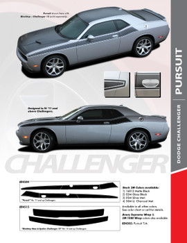PURSUIT : 2011-2020 Dodge Challenger Wide Upper Door Vinyl Graphics Side T/A 392 Style Stripes Accent Decals Kit