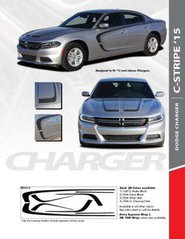 C-STRIPE 15 : 2015-2020 Dodge Charger C Style Side Door and Hood Vinyl Graphic Decals Stripe Kit