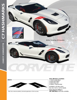 C7 HASH MARKS : 2014-2018 Chevy C7 Corvette Double Bar Hood Fender Stripes Vinyl Graphic Decals Kit