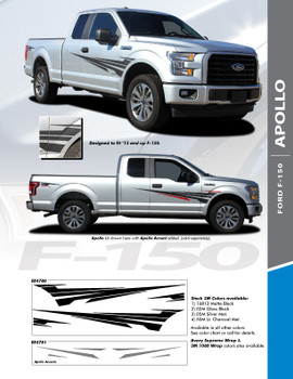 APOLLO : 2015-2018 Ford F-150 Side Door Splash Design Stripes Vinyl Graphics and Decals Kit