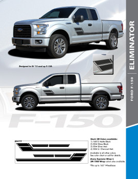 ELIMINATOR : 2015-2020 Ford F-150 Side Door Hockey Stick Rally Stripes Vinyl Graphics and Decals Kit