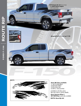 ROUTE RIP : 2015-2020 Ford F-150 Mudslinger Side Truck Bed 4X4 Vinyl Graphics and Decals Striping Kit