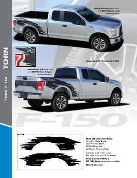 TORN : 2015-2020 Ford F-150 Mudslinger Side Truck Bed 4X4 Vinyl Graphics and Decals Striping Kit