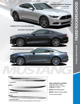FADED SPIKES : 2015-2017 Ford Mustang Hood Spears Fade Fading Stripes Vinyl Graphic Decals Kit