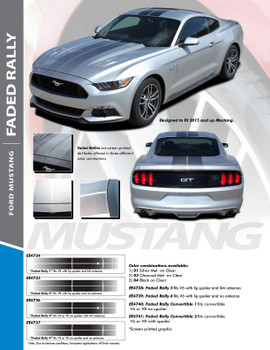 FADED RALLY : 2015-2017 Ford Mustang Hood OEM Style Racing Stripes Black Silver Fade Fading Striping Vinyl Graphic Decals Kit