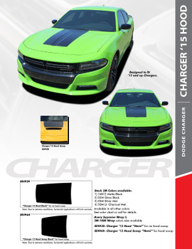 HOOD 15 : 2015-2018 Dodge Charger SE RT Hemi Daytona Mopar Blackout Style Center Hood Vinyl Graphics Decals Kit