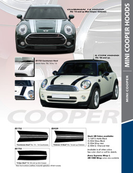 CLUBMAN S-TYPE HOOD : 2016-2018 Mini Cooper Hood Stripes Vinyl Graphics Kit