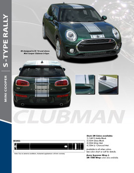 CLUBMAN S-TYPE RALLY : 2016-2018 Mini Cooper Rally Hood Stripes Vinyl Graphics Kit