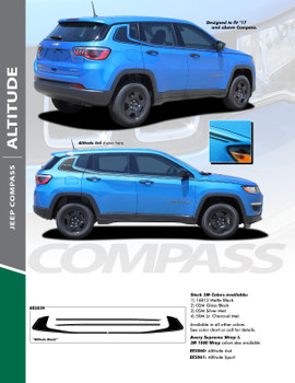 ALTITUDE : 2017-2018 Jeep Compass Upper Body Door Vinyl Graphics Decal Stripe Kit