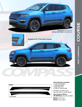COURSE : 2017-2020 Jeep Compass Lower Rocker Panel Body Door Vinyl Graphics Decal Stripe Kit