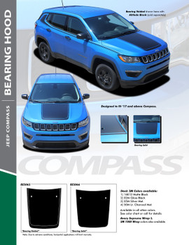 BEARING SOLID : 2017-2019 Jeep Compass Hood Vinyl Graphics Decal Stripe Kit