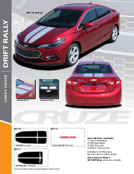 DRIFT RALLY : 2017-2018 Chevy Cruze Rally Racing Stripes Vinyl Graphics Decal Hood Trunk Kit