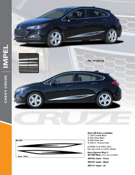 IMPEL : 2017-2018 Chevy Cruze Rocker Stripes Vinyl Graphics Decal Door Kit