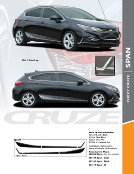 SPAN : 2017-2018 Chevy Cruze Lower Rocker Stripes Vinyl Graphics Decal Door Kit