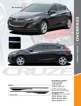 OVERPASS : 2017-2018 Chevy Cruze Upper Door Accent Stripes Vinyl Graphics Decal Door Kit