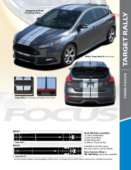 TARGET RALLY : 2016-2018 Ford Focus Racing Stripes Vinyl Graphics Decals Kit