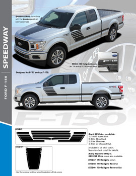 SPEEDWAY SIDES : 2015-2020 Ford F-150 Special Edition Appearance Package Style Door Hockey Stripe Vinyl Graphics Decals Kit