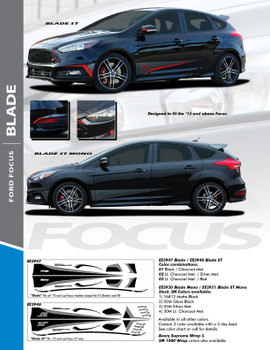BLADE : 2012-2017 Ford Focus Side Door Accent Vinyl Graphics Striping Decals Kit