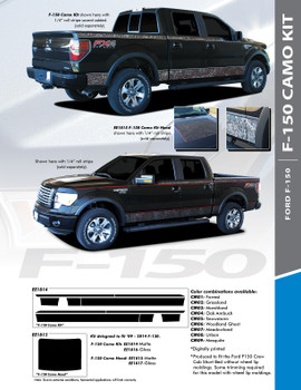 "CAMO DIGITAL : 2009-2014 and 2015-2018 Ford F-150 Hockey Stripe ""Appearance Package Style"" Vinyl Graphics Decals Kit"