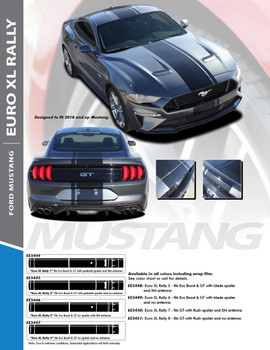 EURO XL RALLY : 2018 Ford Mustang Stripes Euro Style Center Wide Racing Stripes Vinyl Graphics Kit (PDS-5444)