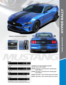 HYPER RALLY : 2018 Ford Mustang Stripes Euro Style Center Wide Racing Stripes Vinyl Graphics Kit (PDS-5434)