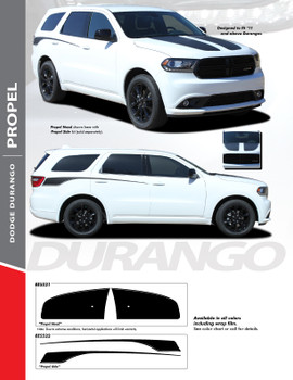 PROPEL HOOD : 2011-2020 Dodge Durango Split Hood Vinyl Graphics Accent Decal Stripe Kit