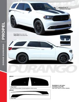 PROPEL HOOD : 2011-2020 Dodge Durango Split Hood Vinyl Graphics Accent Decal Stripe Kit
